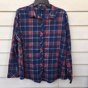 Flannel Shirt Plaid XL Indigo Soft Fall Top Ladies